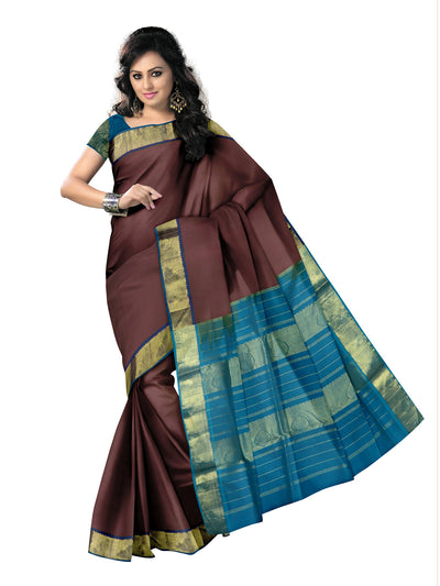silk cotton saree-Maroon shade and Sky Blue with Buds Zari border