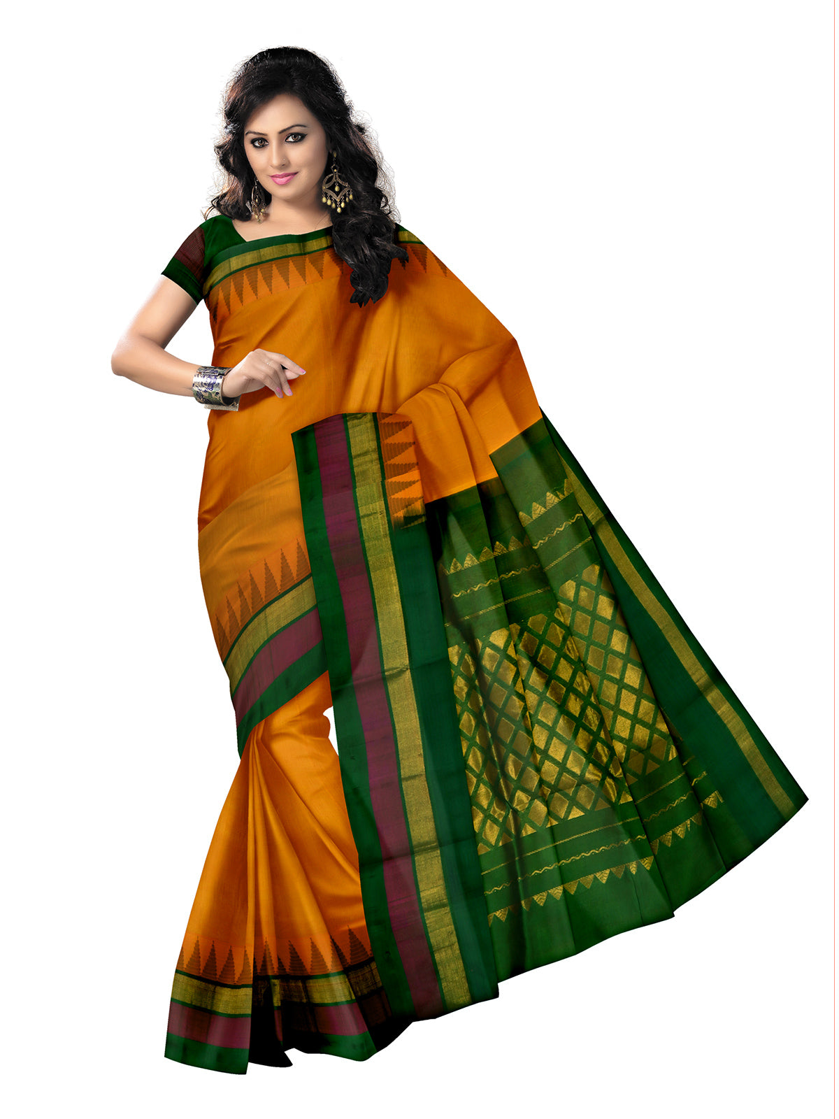 Silk Cotton Saree-Yellow and Green with temple silk border