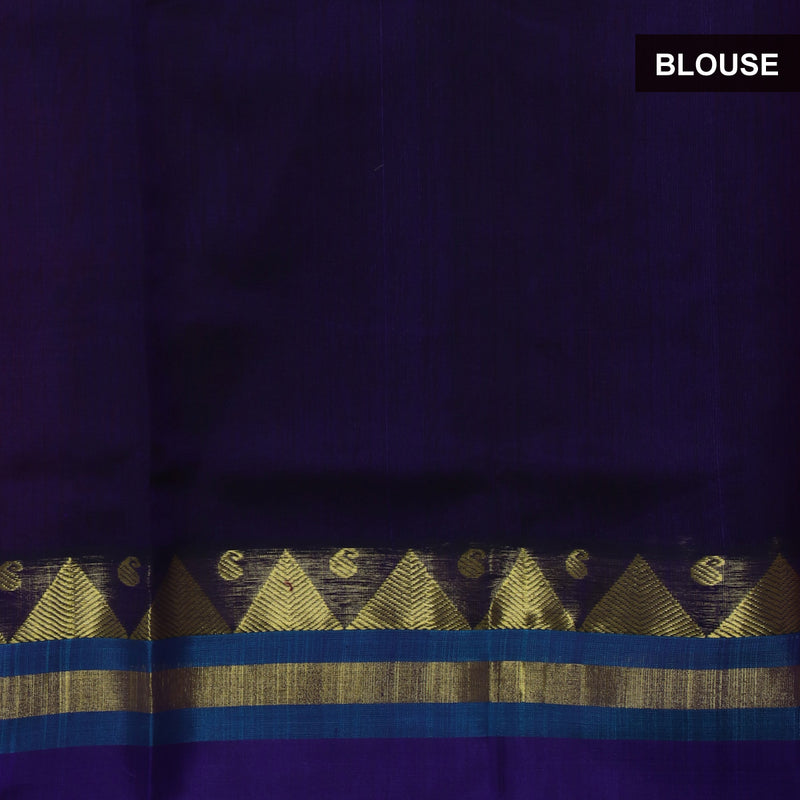 Silk Cotton saree-Pink shade and Blue with Temple silk Border