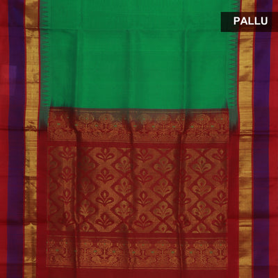 Silk Cotton Saree : Light Green and Red with Temple silk border