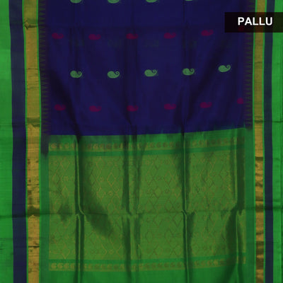 Kuppadam Silk Cotton Saree - Blue and Parrot Green with mango butta and temple silk border