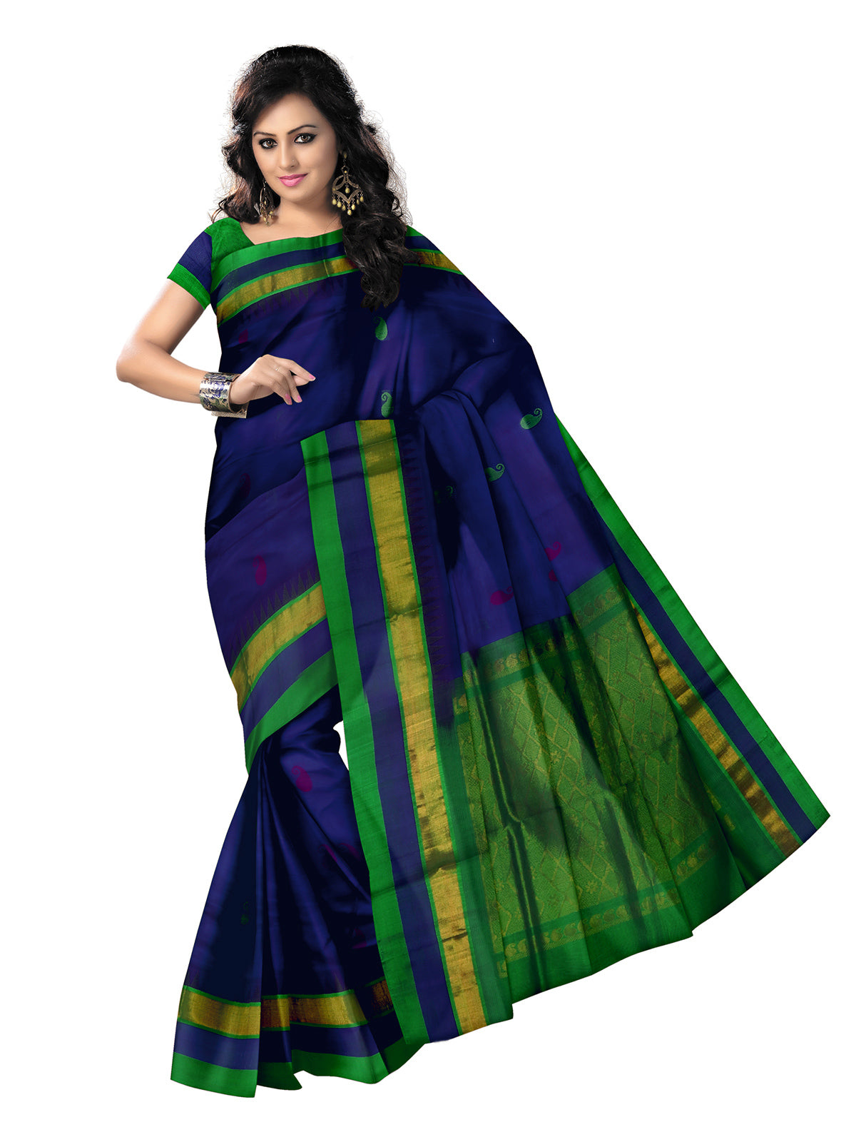 Kuppadam Silk Cotton Saree - Blue and Parrot Green with mango butta and temple silk border for Rs.Rs. 6545.00 | Silk Cotton Sarees by Prashanti Sarees