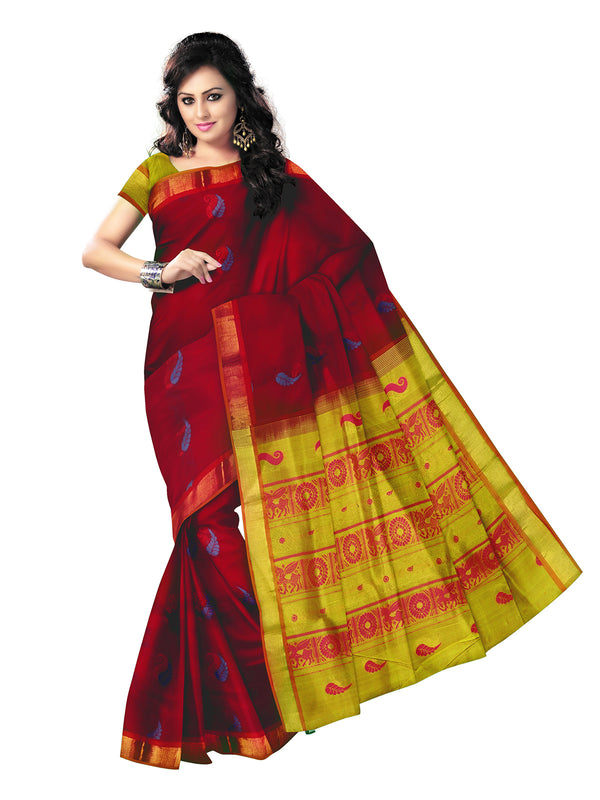 Silk Cotton Saree - Red and Light Mehandi Green with mango butta and simple zari border for Rs.Rs. 4240.00 | Silk Cotton Sarees by Prashanti Sarees
