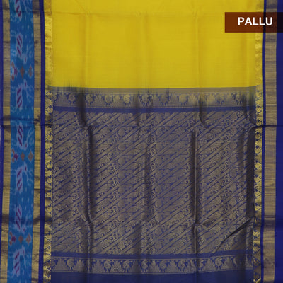 Silk Cotton Saree - Yellow and Blue with Ikkat Silk border