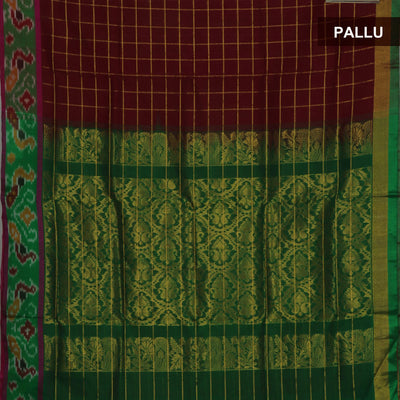 Silk Cotton Saree - Maroon and Green with Ikkat border