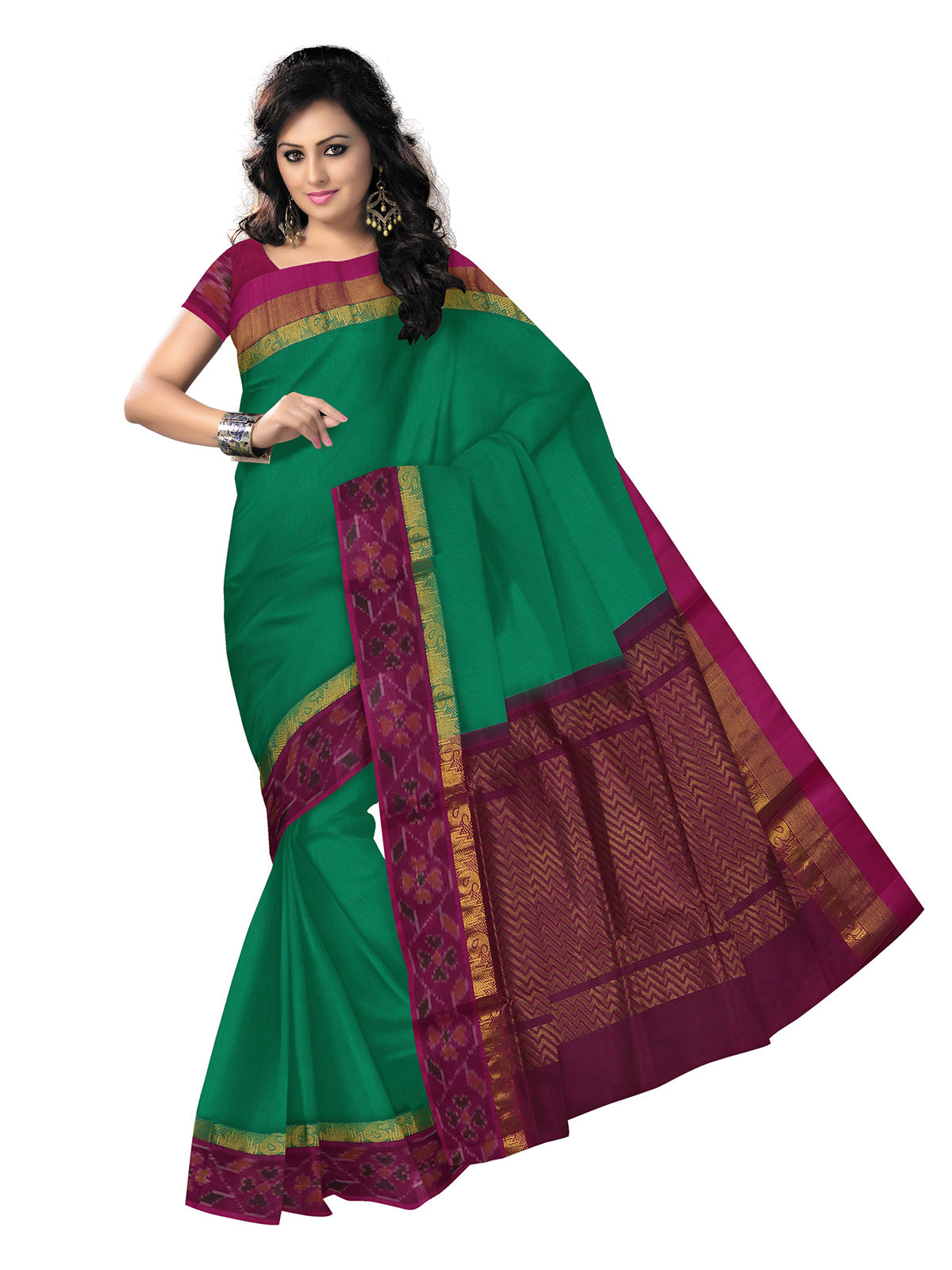 Silk Cotton Saree - Green and Pink with Ikkat Silk border