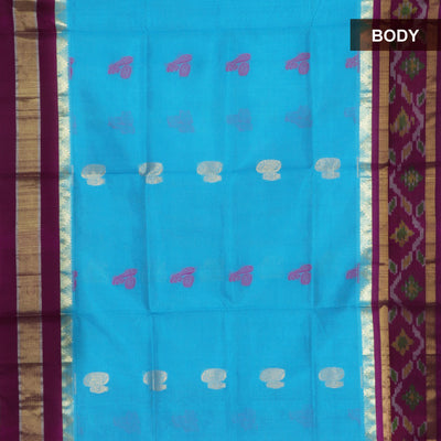 Silk Cotton Saree - Sky Blue and Magenta with Instrumental Butta and Ikkat Silk border