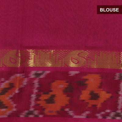 Silk Cotton Saree - Blue and Pink with Ikkat border