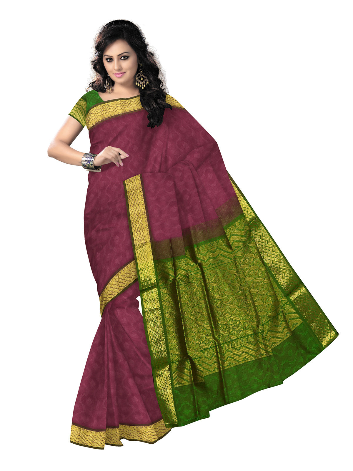 Silk Cotton Saree - Onion pink and Mehandi Green with Wave zari border jacquard