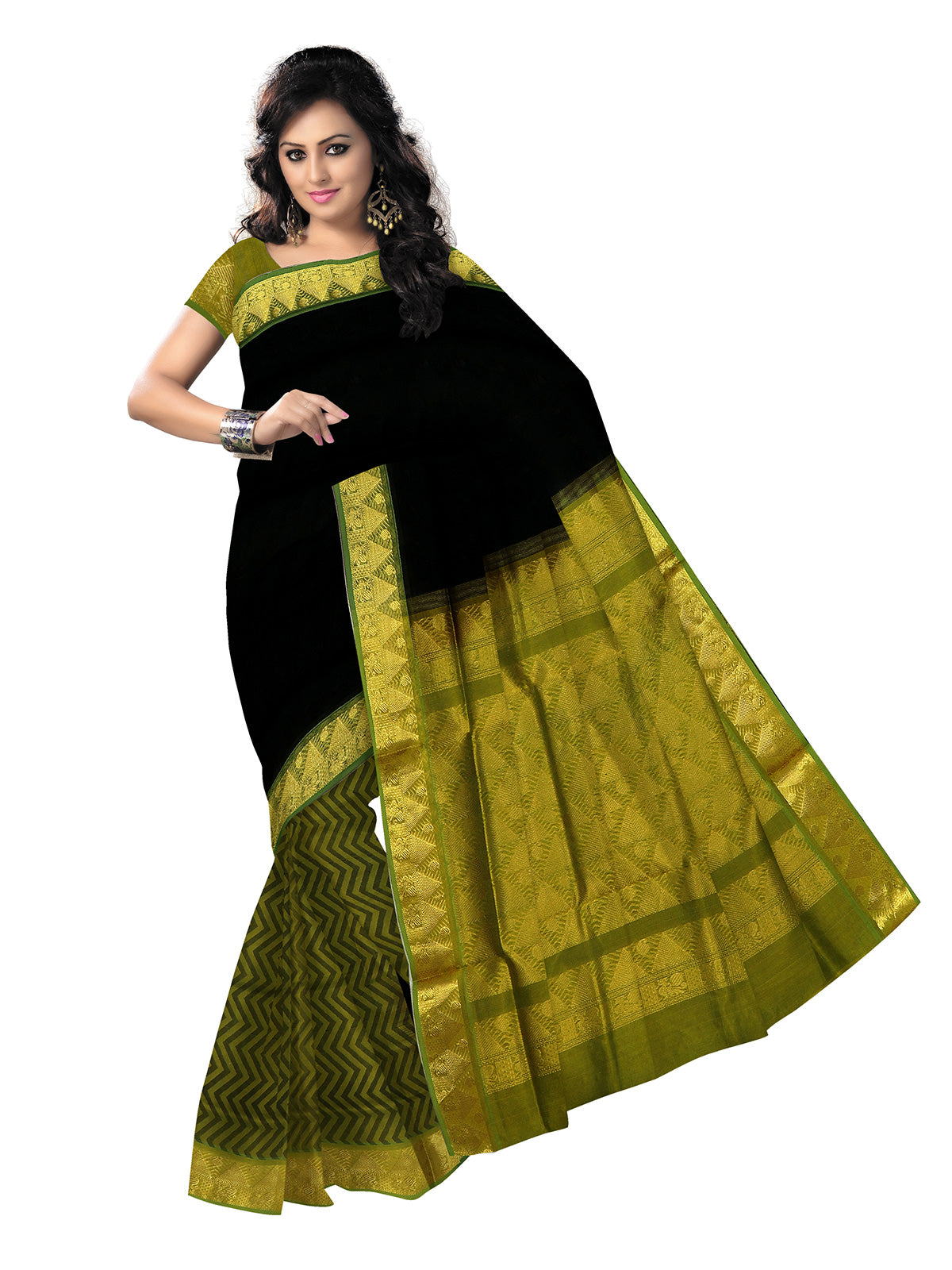 Silk Cotton Saree - Black and Mehandi Green with Temple zari border partly