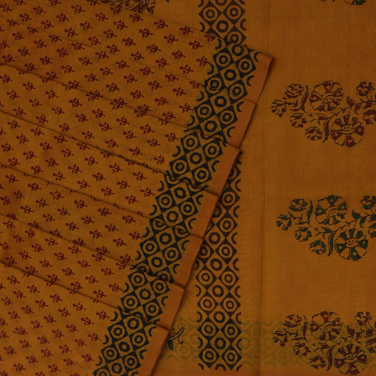 Printed Silk Cotton Saree Yellow with Simple border