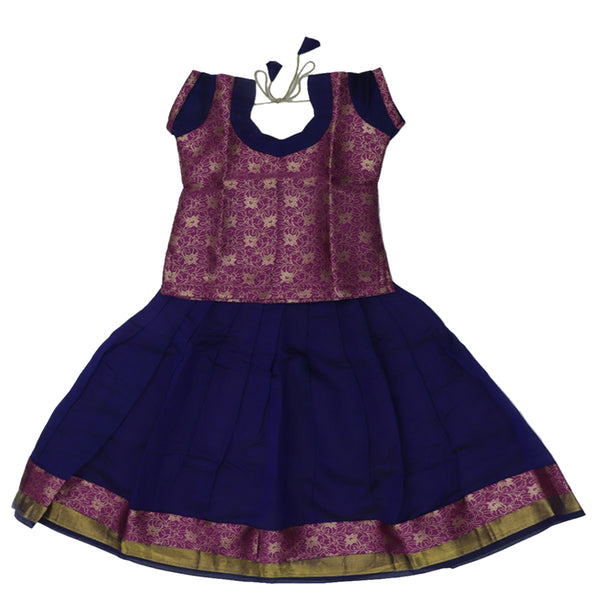Paavadai Sattai -Purple and Blue with Wave zari border (4 years)