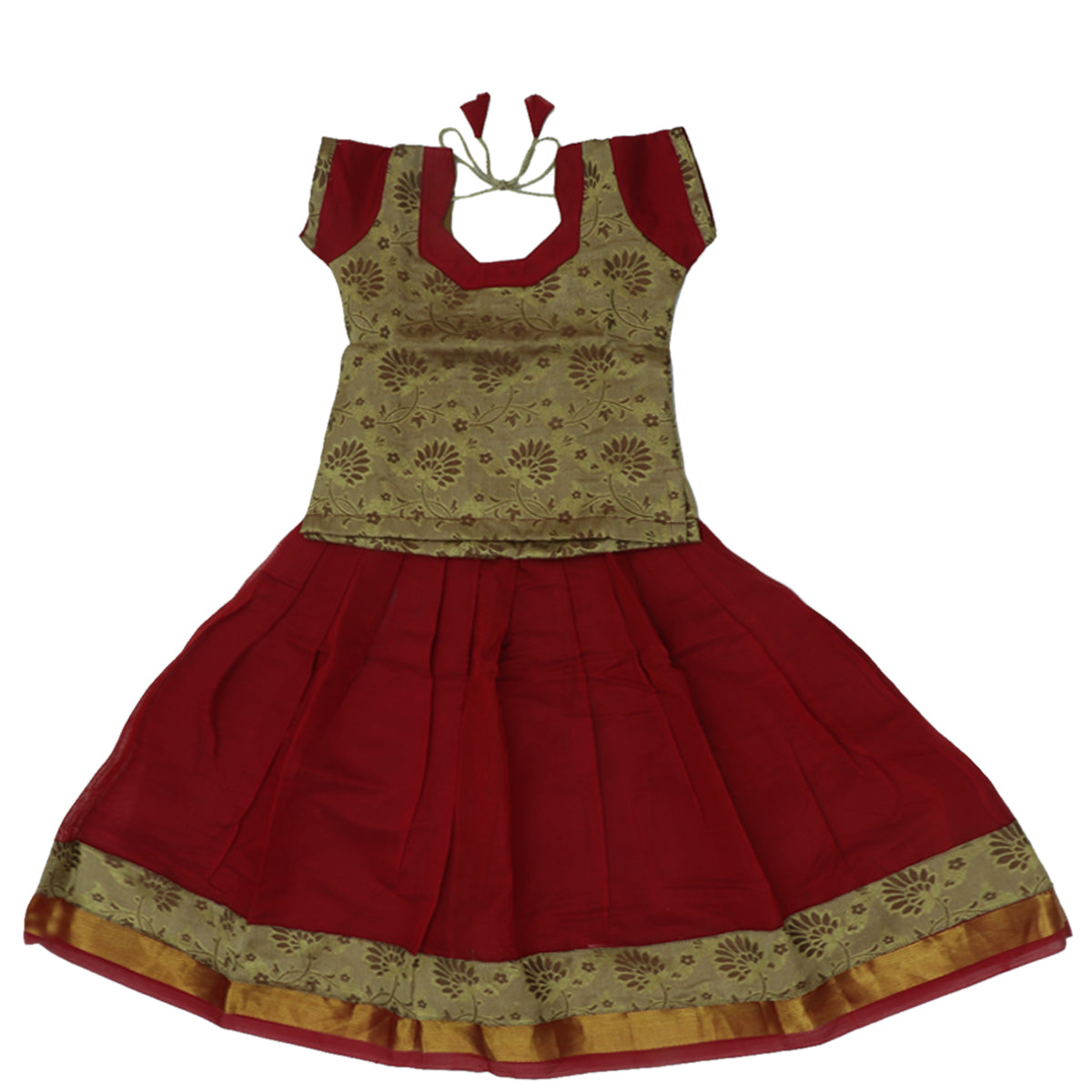 Paavadai Sattai -Golden Color and Red with Wave zari border (3 years)