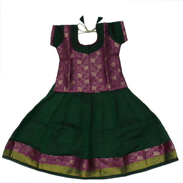 Paavadai Sattai -Purple and Dark Green with Wave zari border (2 years)