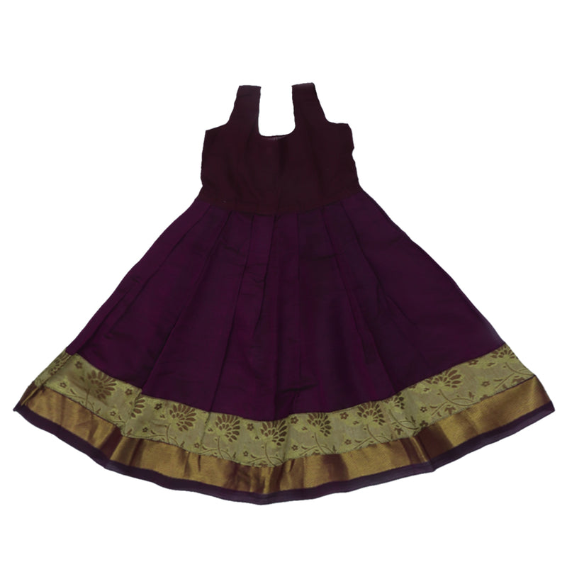 Paavadai Sattai -Golden Color and Dark Violet with Wave zari border (2 years)