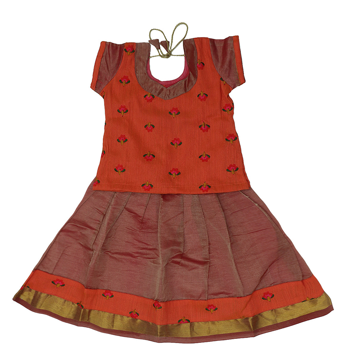 Paavadai Sattai -Orange and Onion Pink with zari border (2 years)