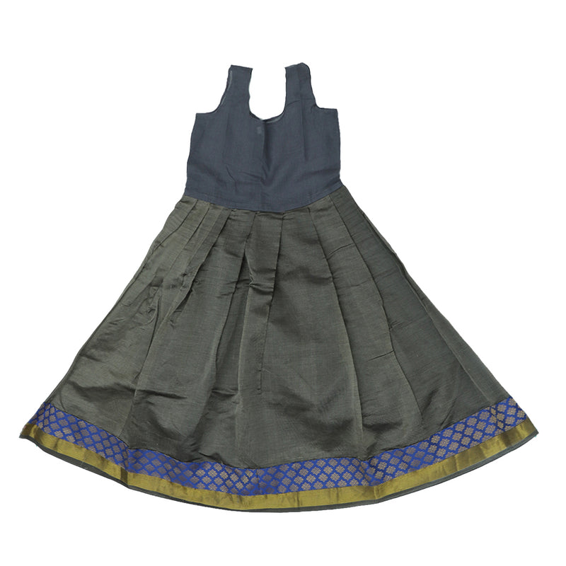 Paavadai Sattai -Blue and Grey with zari border (7 years)