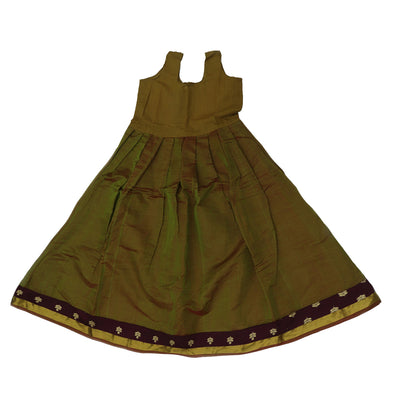 Paavadai Sattai -Dark Maroon with embroidery and Mehandi Green with zari border (10 years)