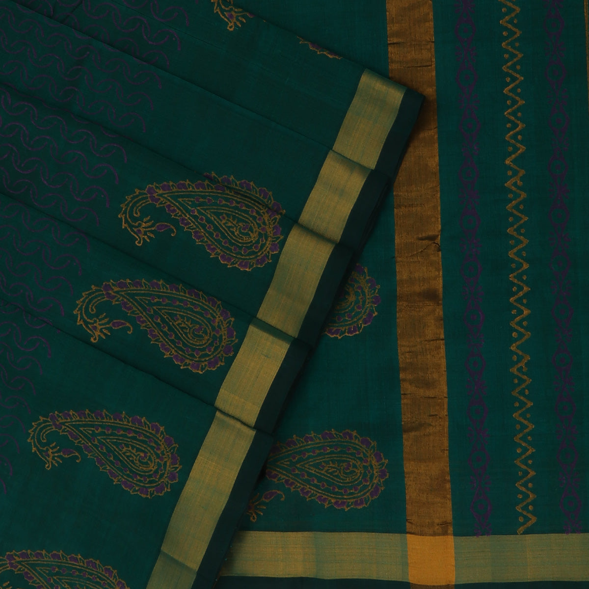 Printed Silk Cotton Saree Dark Green with Simple Zari border