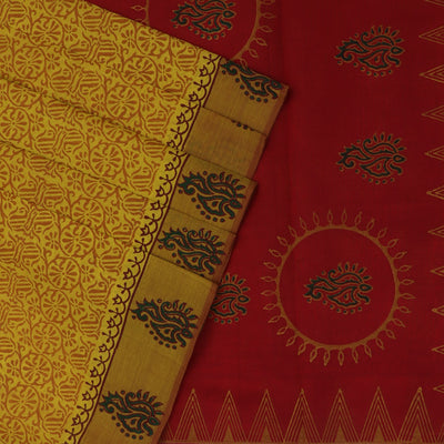 Printed Silk Cotton Saree Yellow and Red with Simple border