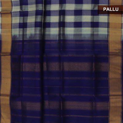 Silk Cotton Saree :Blue and Sandal Paalum pazham with Bavanji zari border