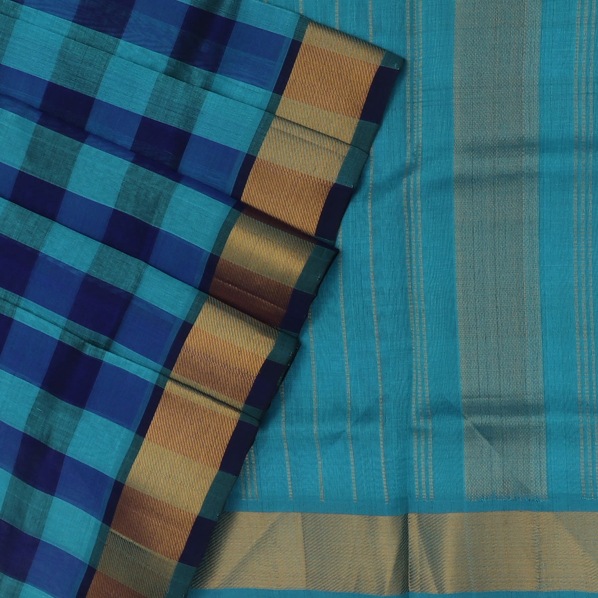 Silk Cotton Saree :Blue and Sky Blue Paalum pazham with Bavanji zari border