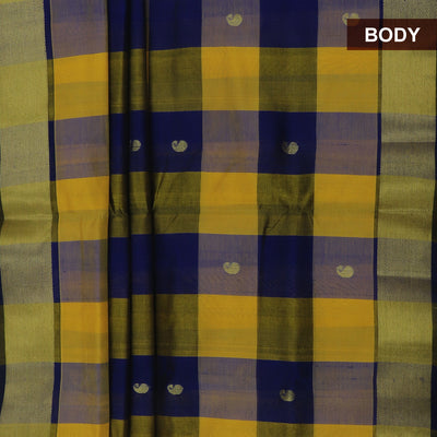 Silk Cotton Saree :Yellow and Blue Paalum pazham with butta and Bavanji zari border