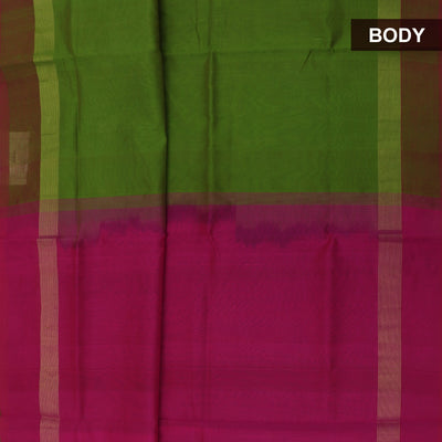 Silk Cotton Saree-Mehandi Green and Pink with Simple border