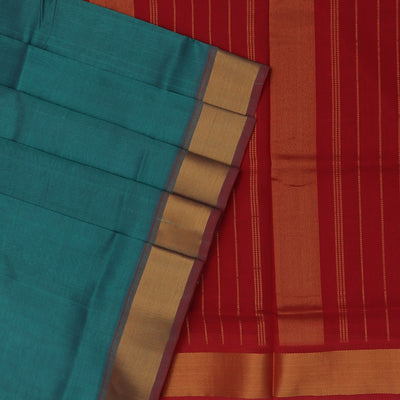Silk Cotton Saree-Peacock Blue with green dual shade and Maroon with Bavanji Zari border