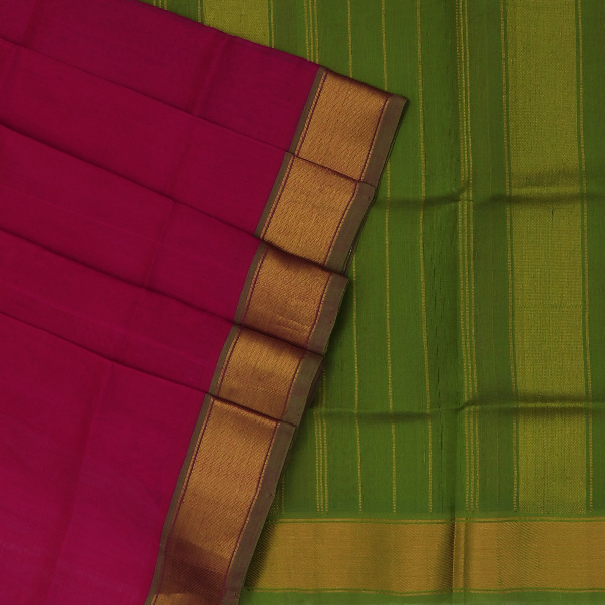 Silk Cotton Saree-Pink and Mehandi Green with Bavanji Zari border