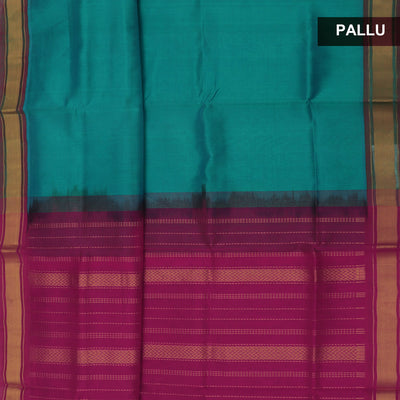 Silk Cotton Saree-Sea Blue and Pink with Simple Zari border