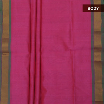 Silk Cotton Saree-Pink and Parrot Green with Simple Zari border