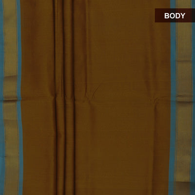Silk Cotton Saree-Dark Mustard and Sky Blue with Simple Zari border