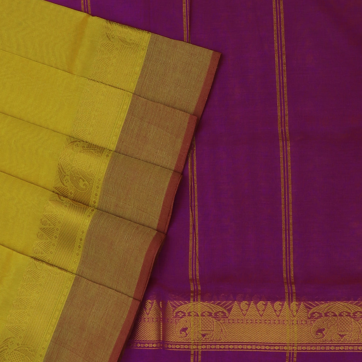 Silk Cotton Saree-Yellow and Pink with Temple Zari border