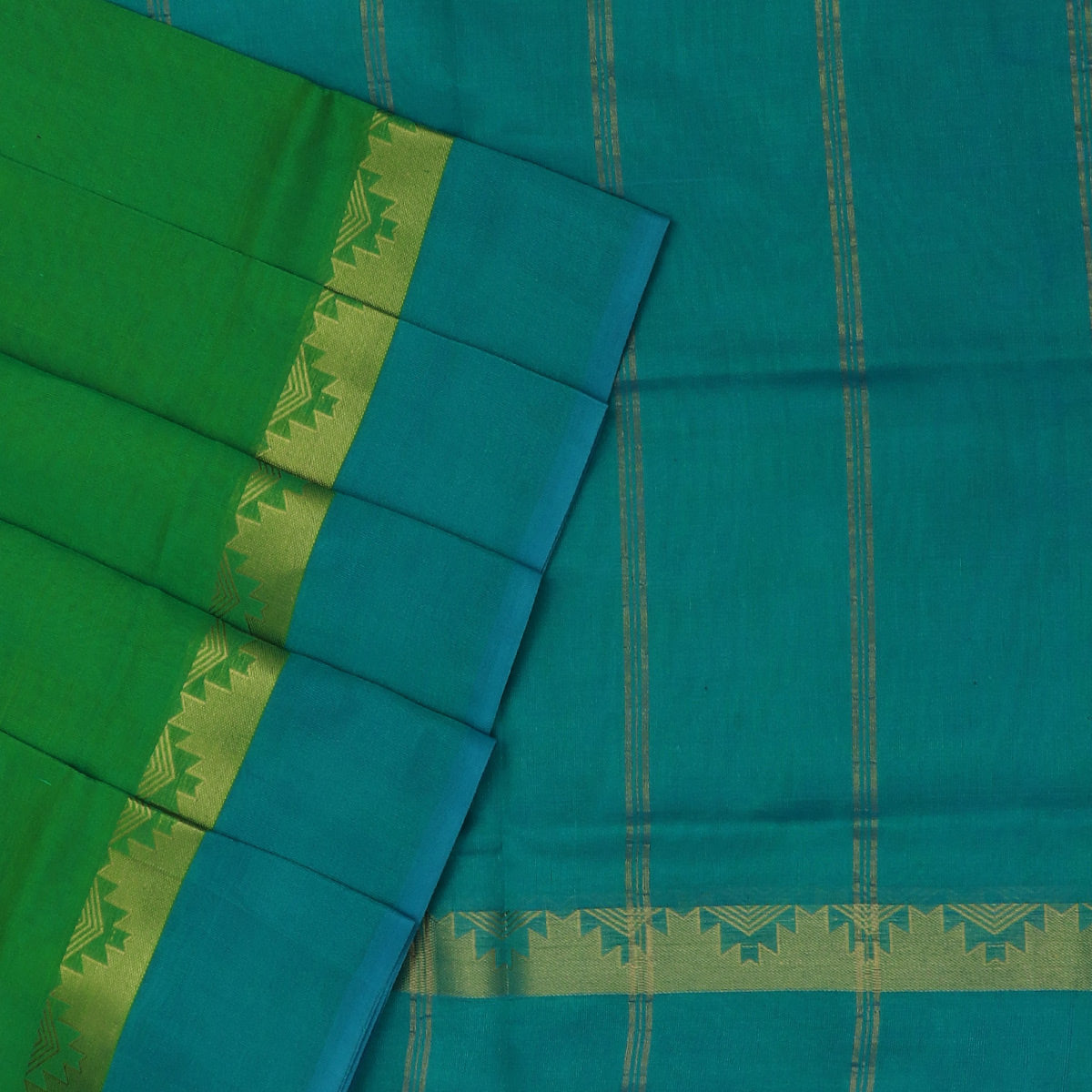 Silk Cotton Saree-Green Dual shade and Peacock Blue with Temple Zari border