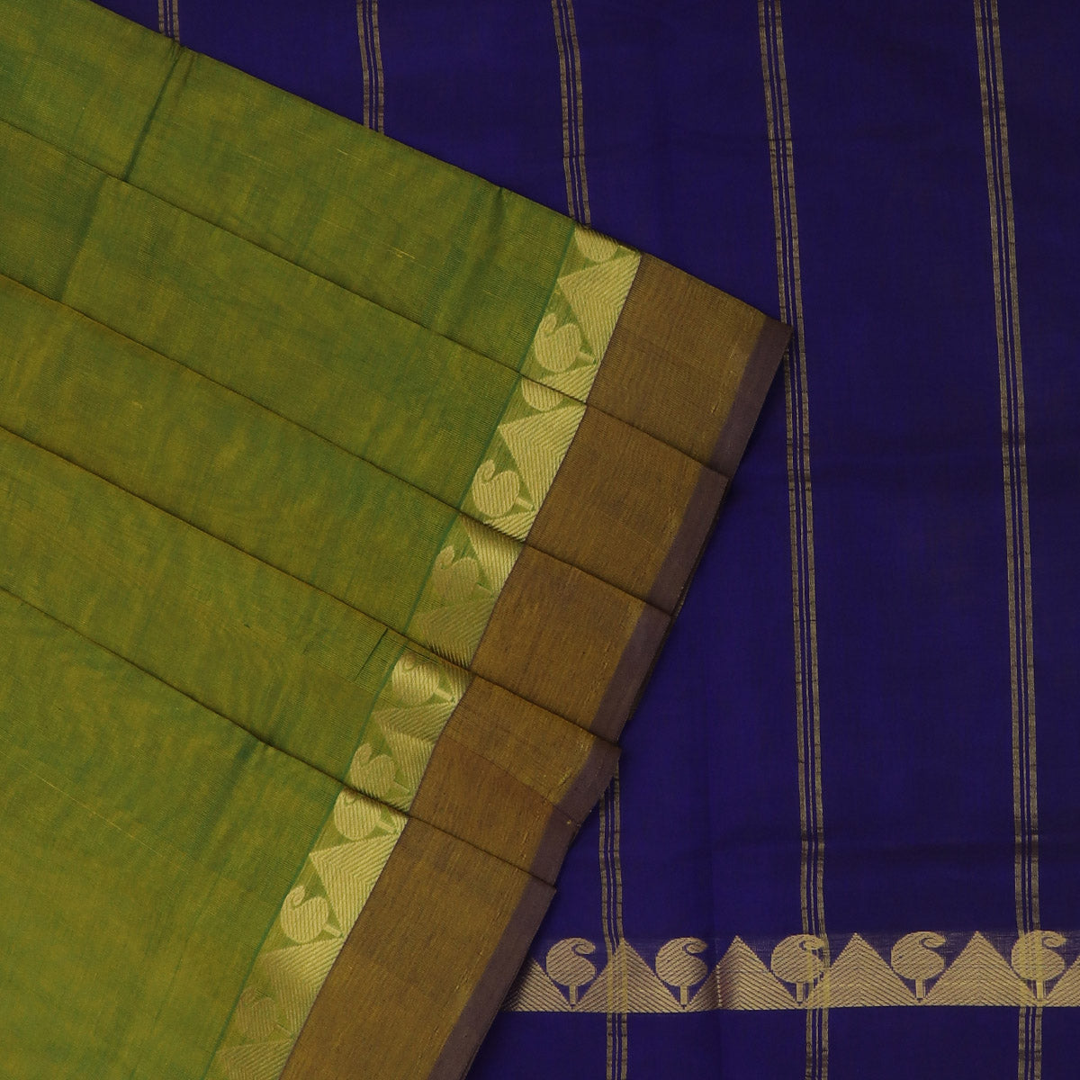 Silk Cotton Saree-Mehandi Green and Blue with Temple Zari border