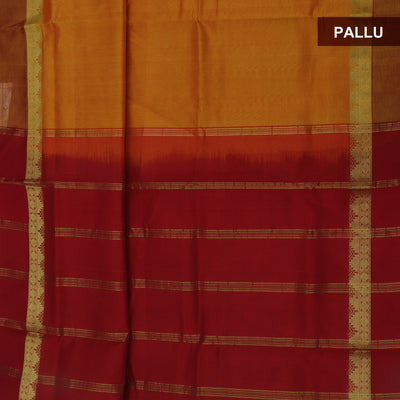 Silk Cotton Saree-Honey Color and Maroon with Temple Zari border