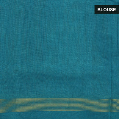 Silk Cotton Saree-Honey Color  and Sky Blue with Simple Zari border