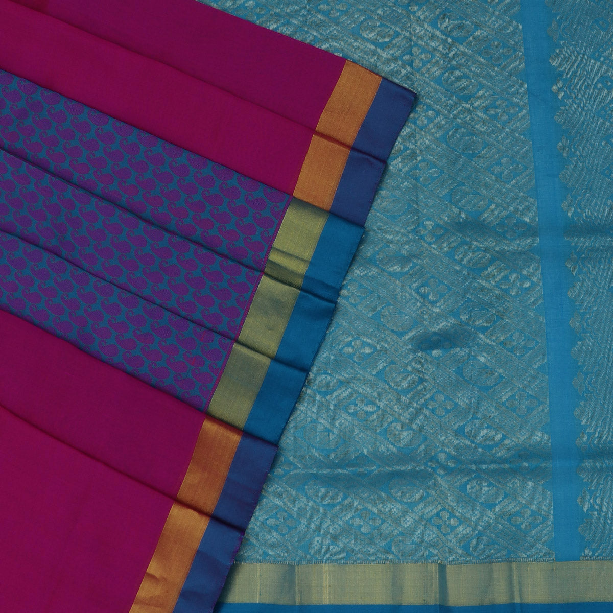 Silk Cotton Saree-Pink and Sky Blue Partly with zari border for Rs.Rs. 4745.00 | Silk Cotton Sarees by Prashanti Sarees