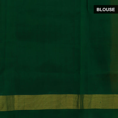 Silk Cotton Saree-Yellow and Dark Green Partly with zari border
