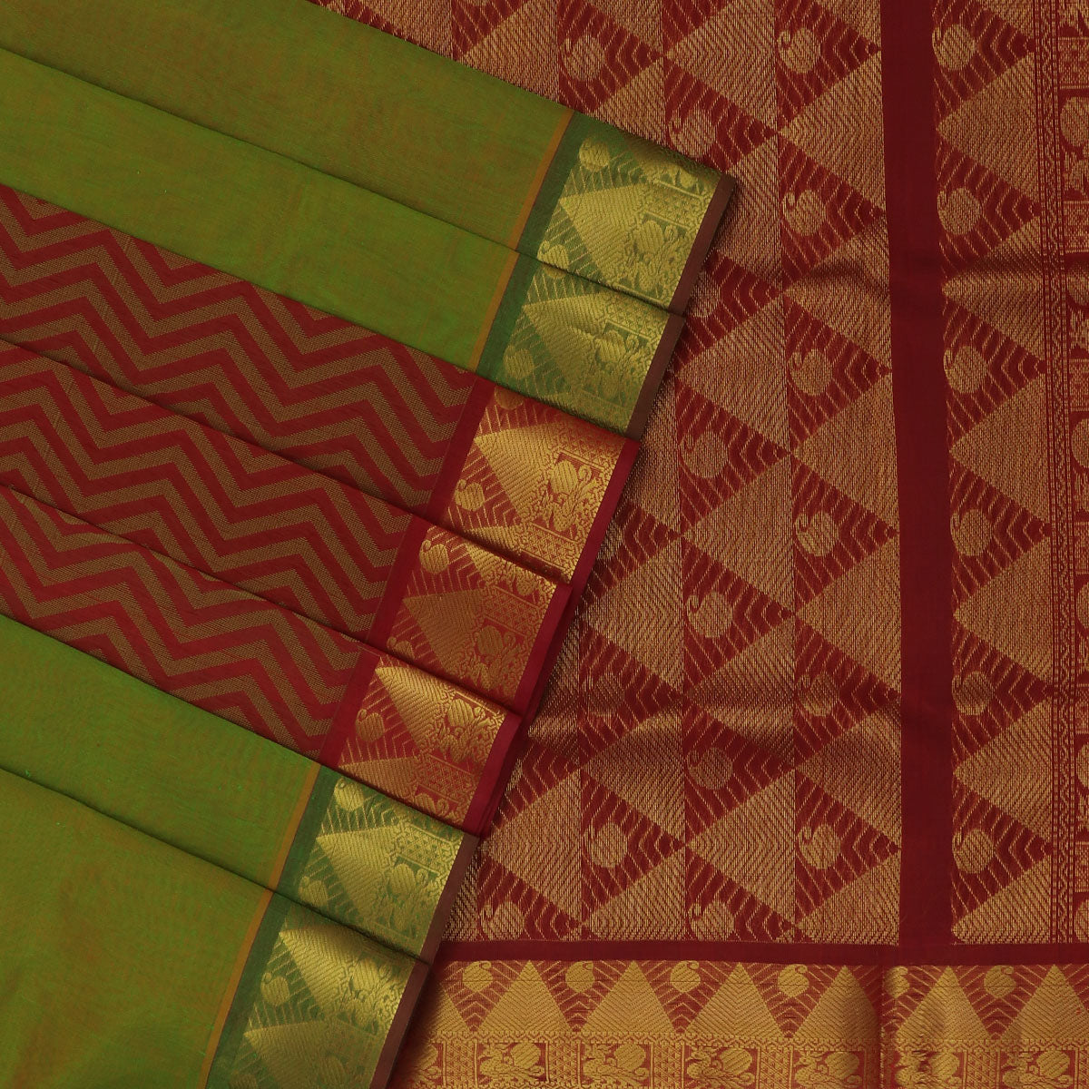 Silk Cotton Saree-Mehandi Green and Maroon Partly with Temple zari border