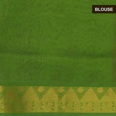 Silk Cotton Saree-Maroon and Mehandi Green Partly with Temple zari border