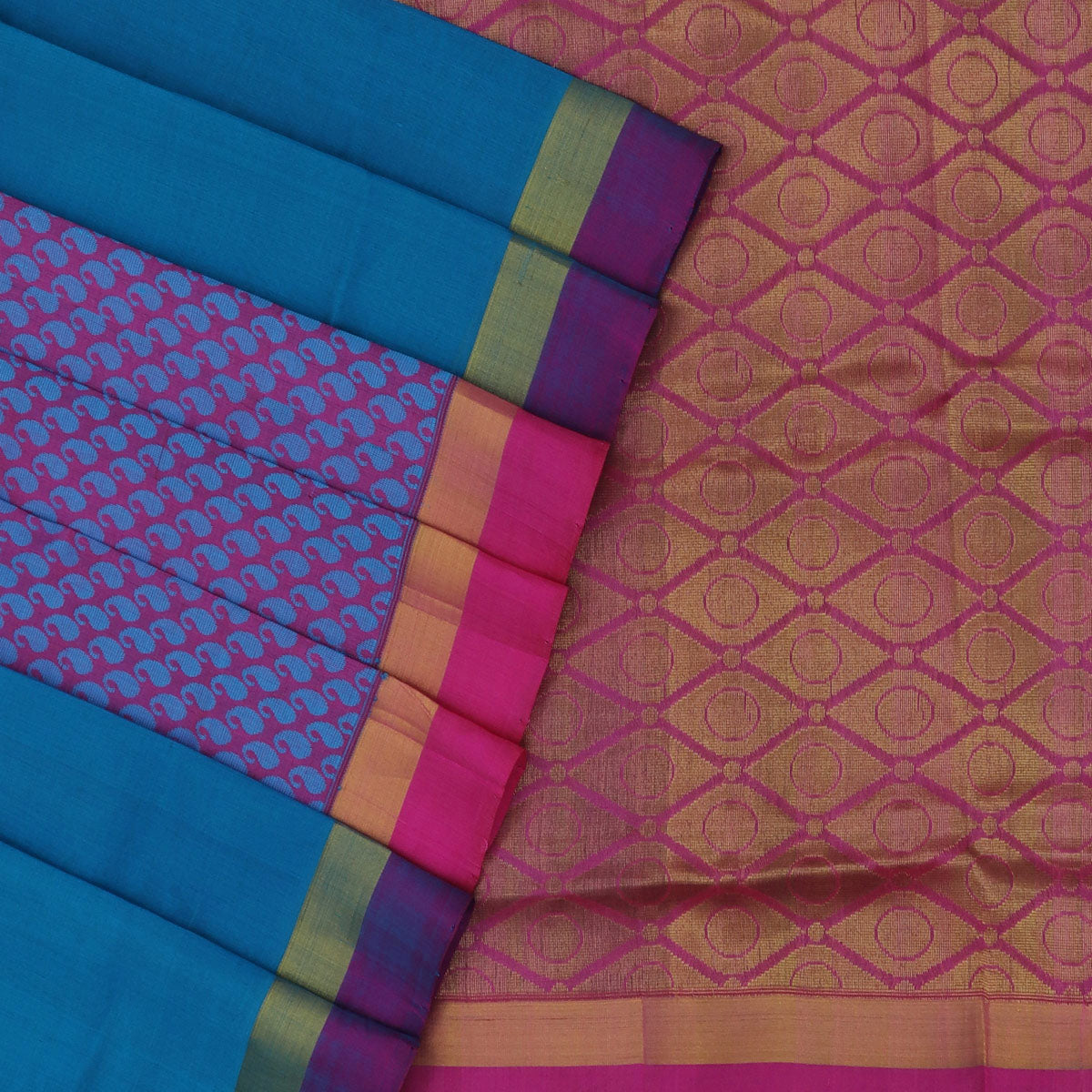 Silk Cotton Saree-Dark Sky Blue and Pink Partly with zari border