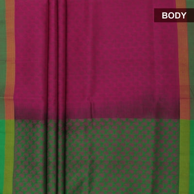 Silk Cotton Saree-Pink Shade and Light Green Partly with zari border