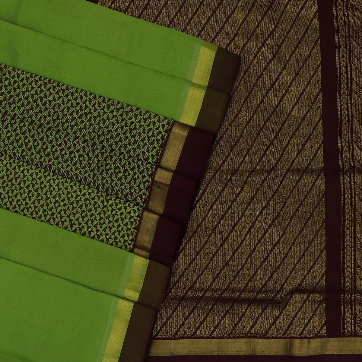 Silk Cotton Saree-Mehandi Green and Brown Partly with zari border