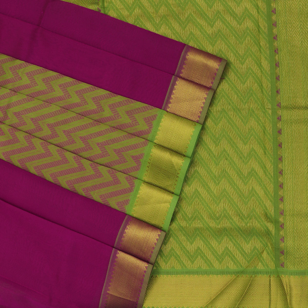 Silk Cotton Saree-Dark Pink and Mehandi Green Partly with zari border
