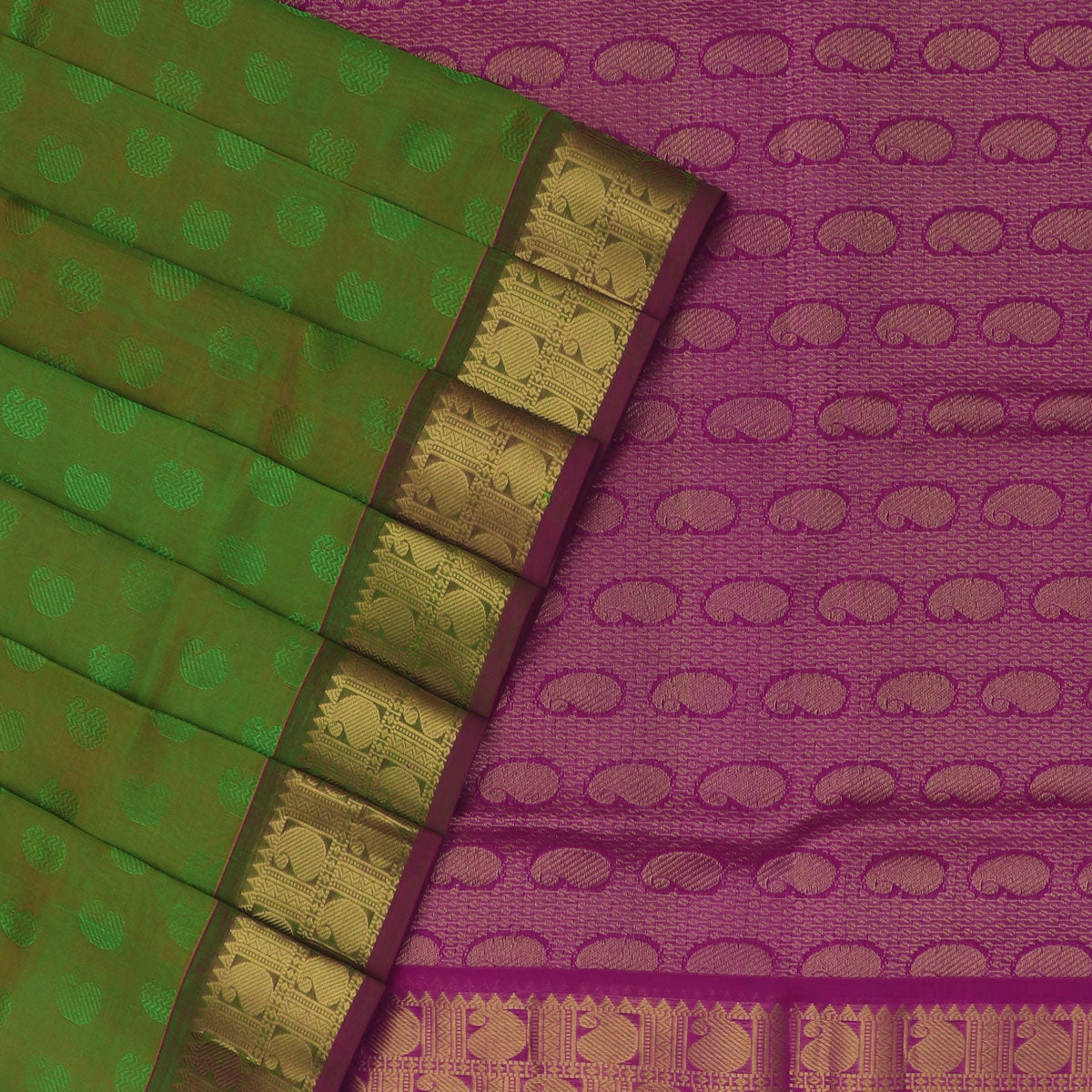 Silk Cotton Saree-Green and Pink with zari border jacquard