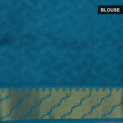 Silk Cotton Saree-Mustard and Sky Blue with zari border Jacquard