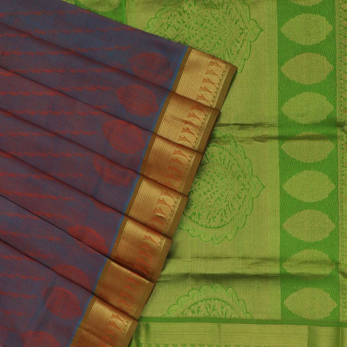 Silk Cotton Saree-Bluish Maroon and Mehandi Green with zari border Jacquard