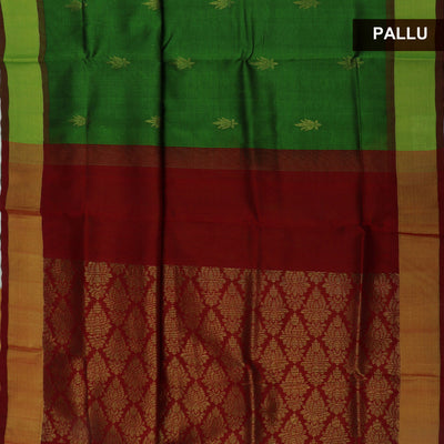 Silk Cotton Saree-Green and Maroon with butta and Bavanji zari border